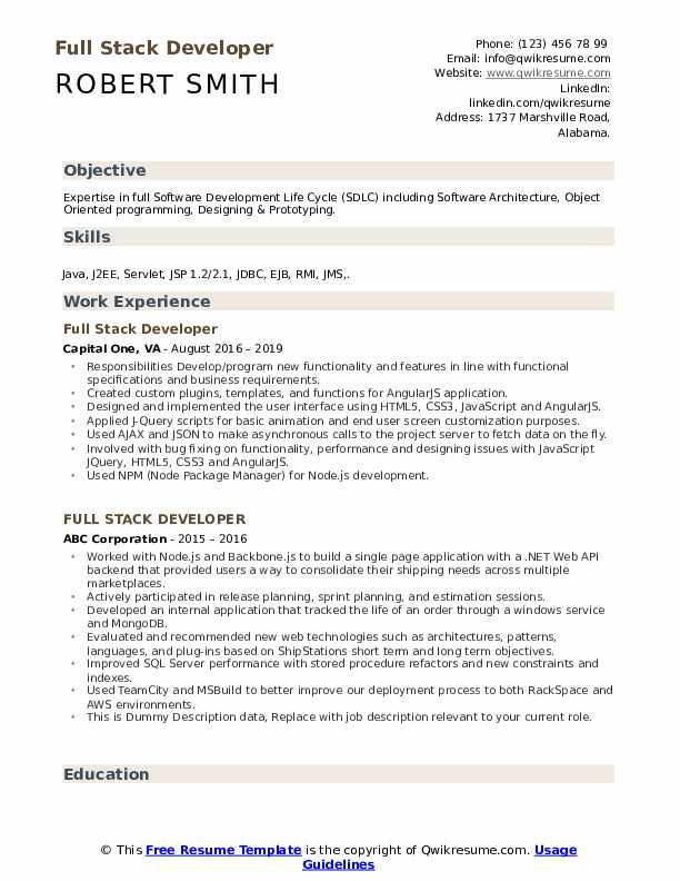Full Stack Developer Resume Samples Qwikresume