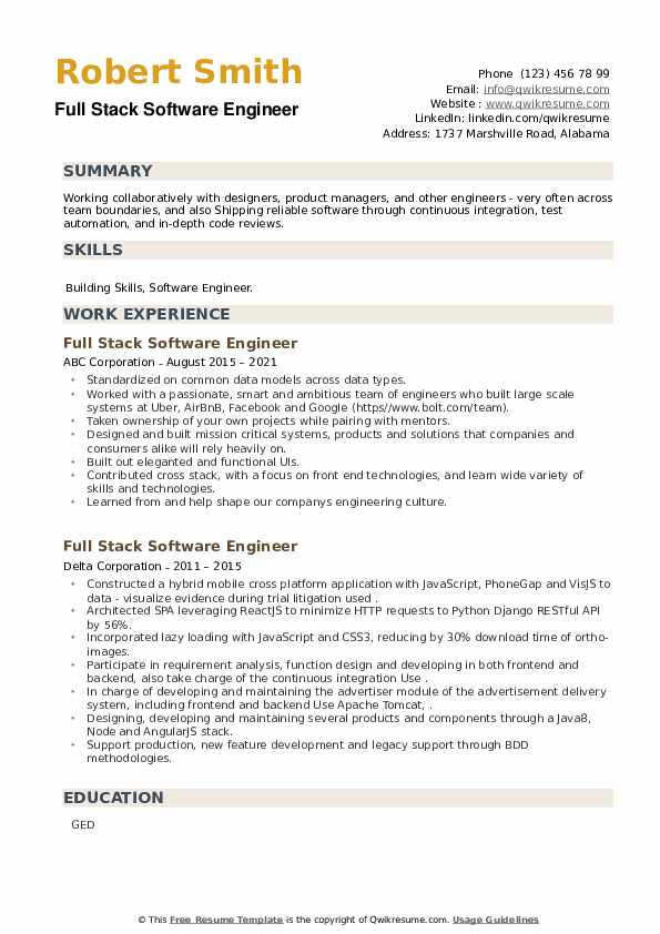 Full Stack Software Engineer Resume example