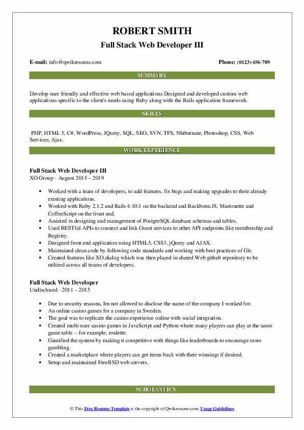 full stack web developer resume samples  qwikresume