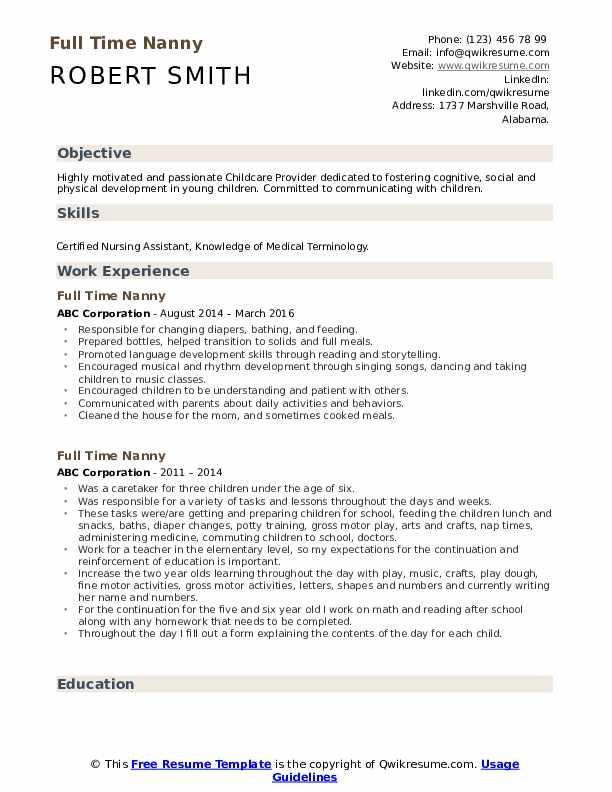 Full Time Nanny Resume example