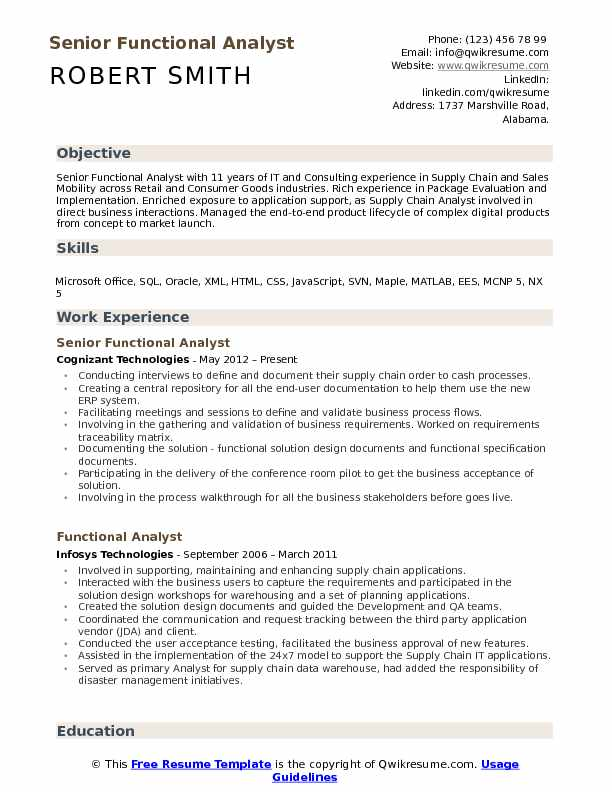 Senior Functional Analyst  Resume Example