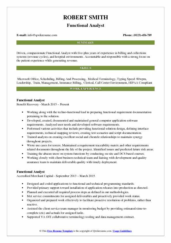 Functional Analyst Resume Example