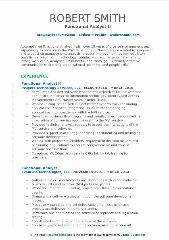 Functional Analyst II Resume Example