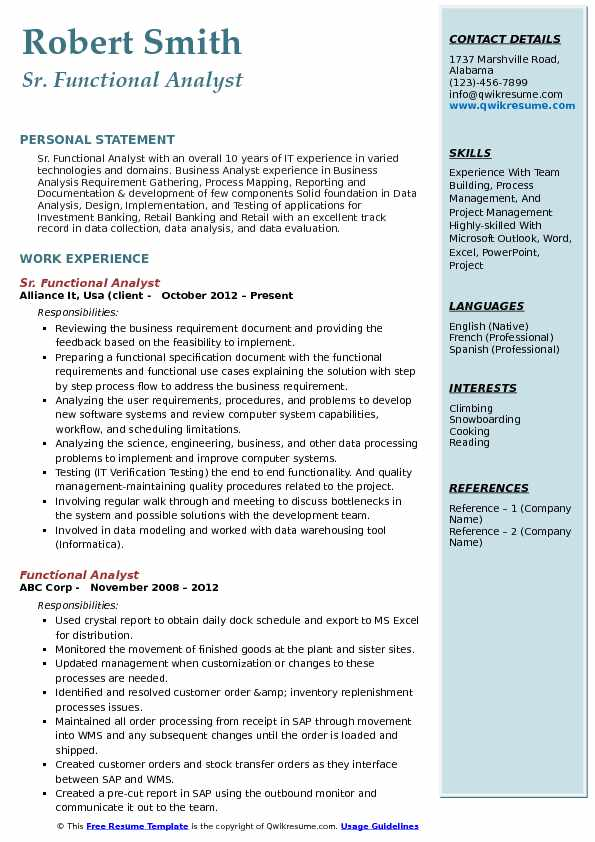 Sr. Functional Analyst Resume Format