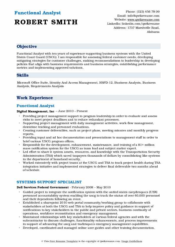 Functional Analyst Resume Format