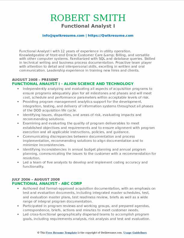 Functional Analyst I Resume Format