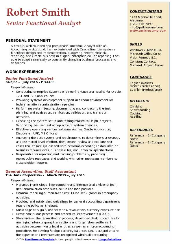 Senior Functional Analyst Resume Sample