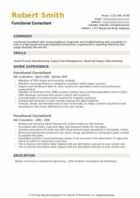 functional consultant resume samples  qwikresume
