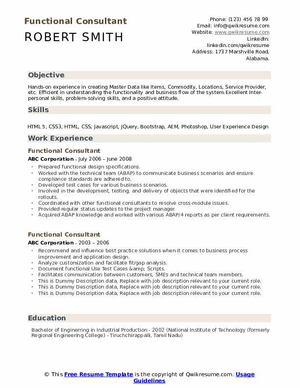 Functional Consultant Resume example