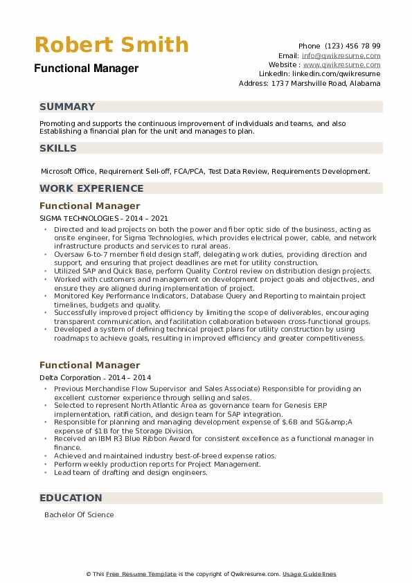 Functional Manager Resume example