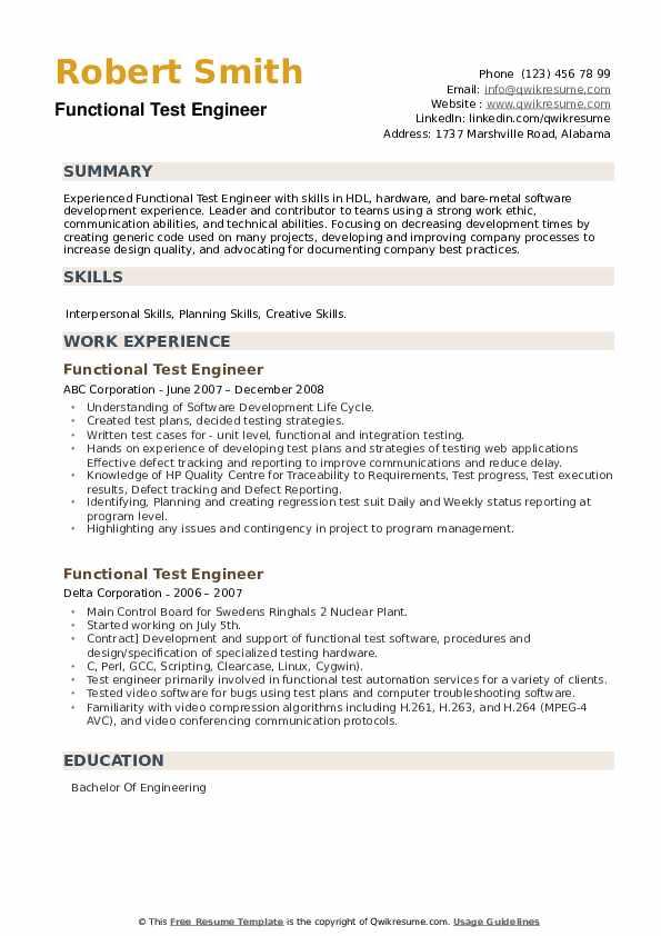 Functional Test Engineer Resume example