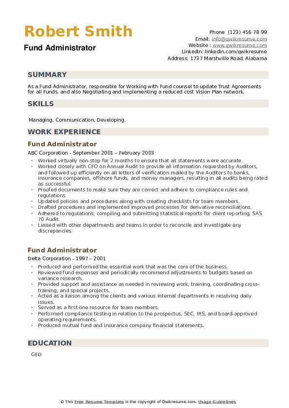 Fund Administrator Resume example