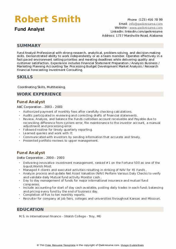 Fund Analyst Resume example
