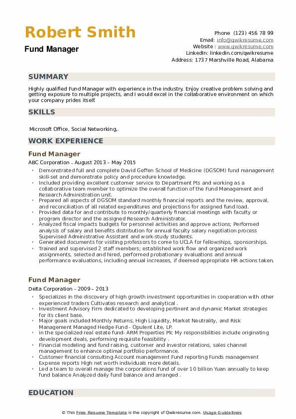 Fund Manager Resume example