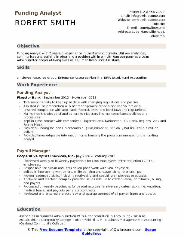 Funding Analyst Resume Example