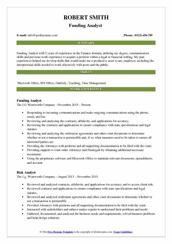 Funding Analyst  Resume Model