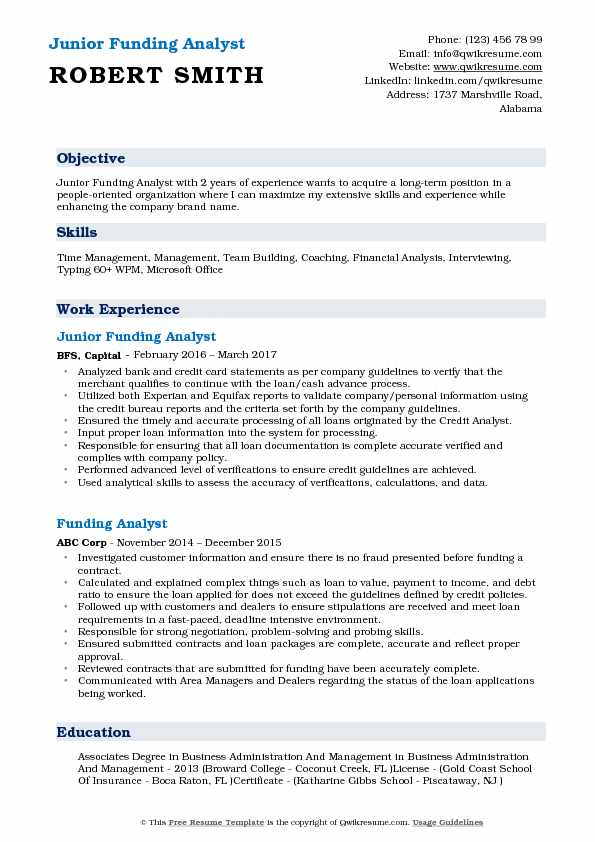 Junior Funding Analyst Resume Format