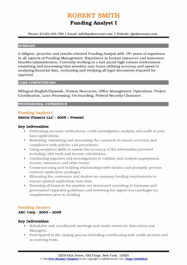 Funding Analyst I Resume Example