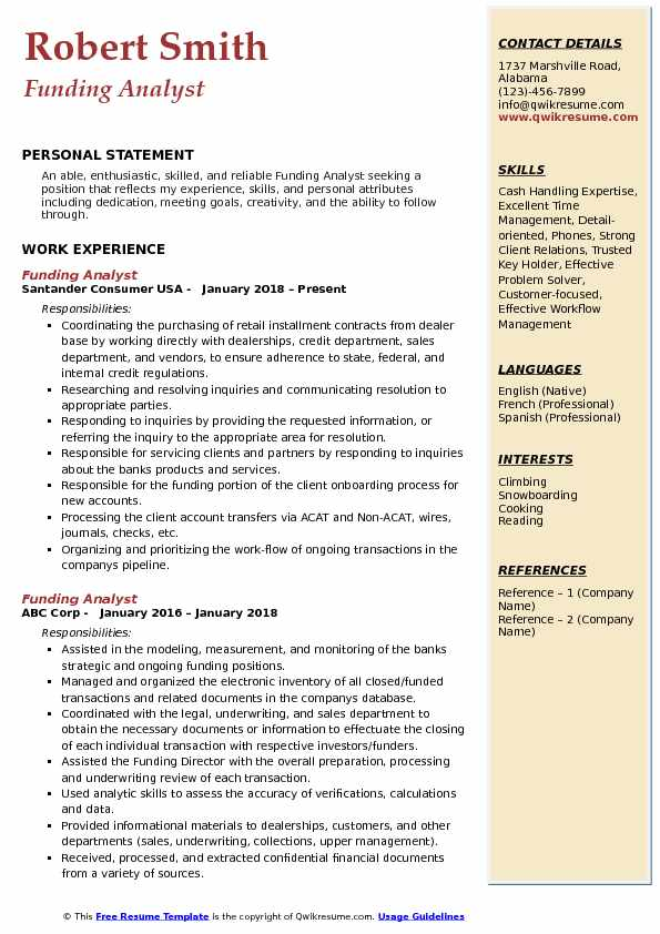 Funding Analyst Resume Format