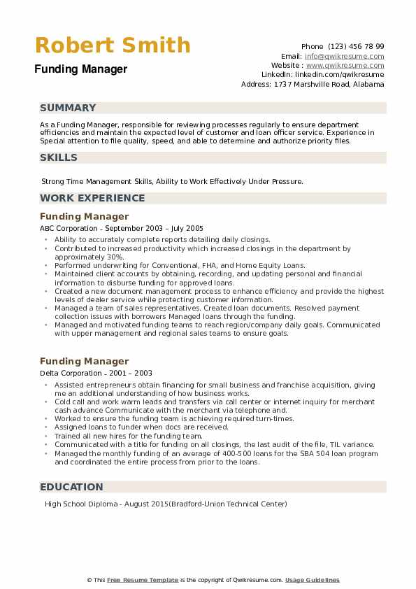 Funding Manager Resume example