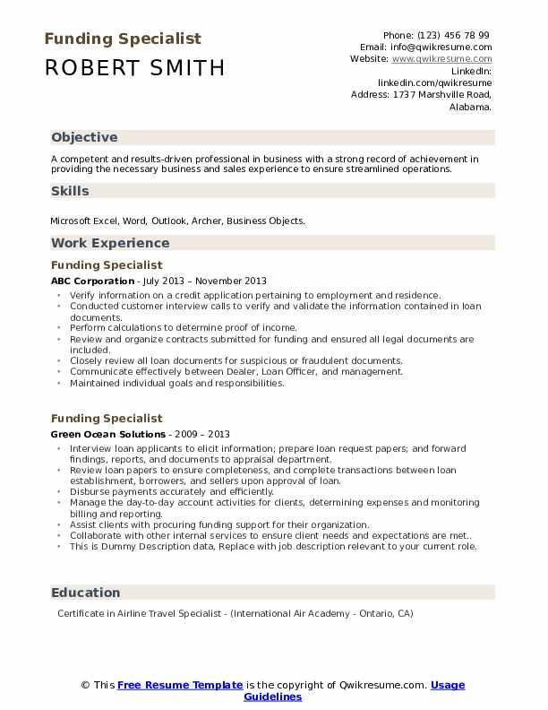 Funding Specialist Resume example