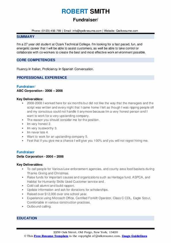 fundraiser resume samples  qwikresume