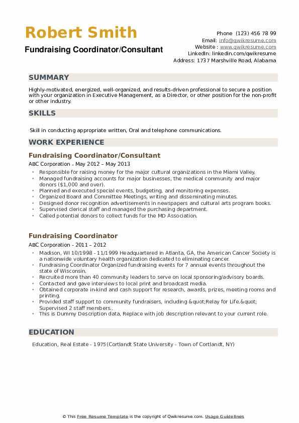 Fundraising Coordinator Resume example