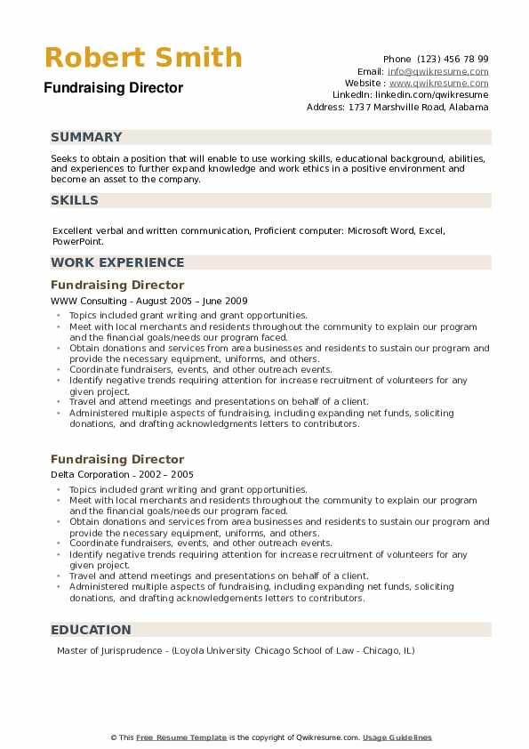 Fundraising Director Resume example