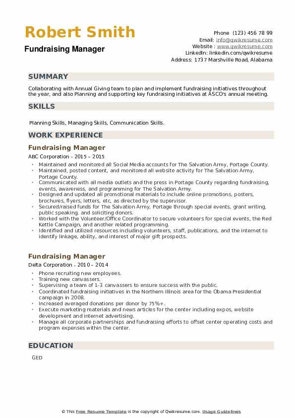 Fundraising Manager Resume example