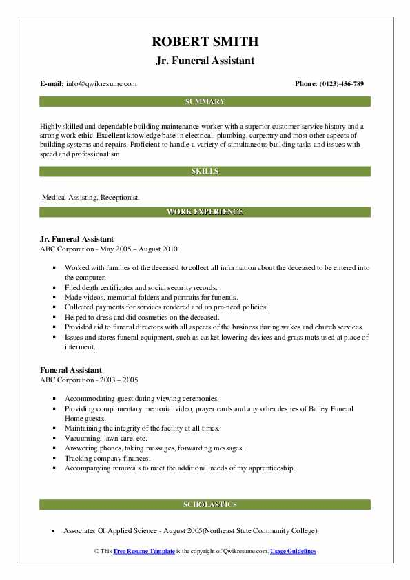 Funeral Assistant Resume Samples Qwikresume