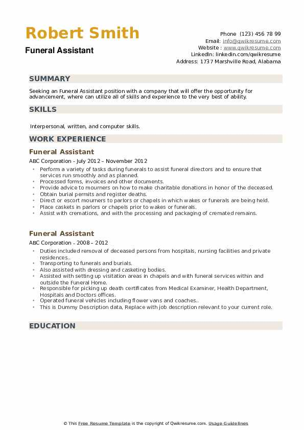 Funeral Assistant Resume example