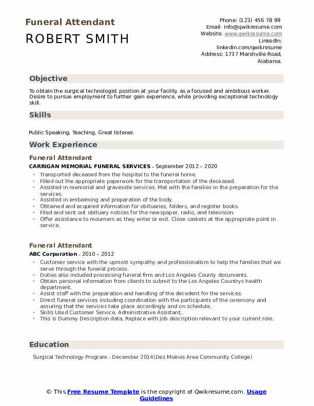 Funeral Attendant Resume example