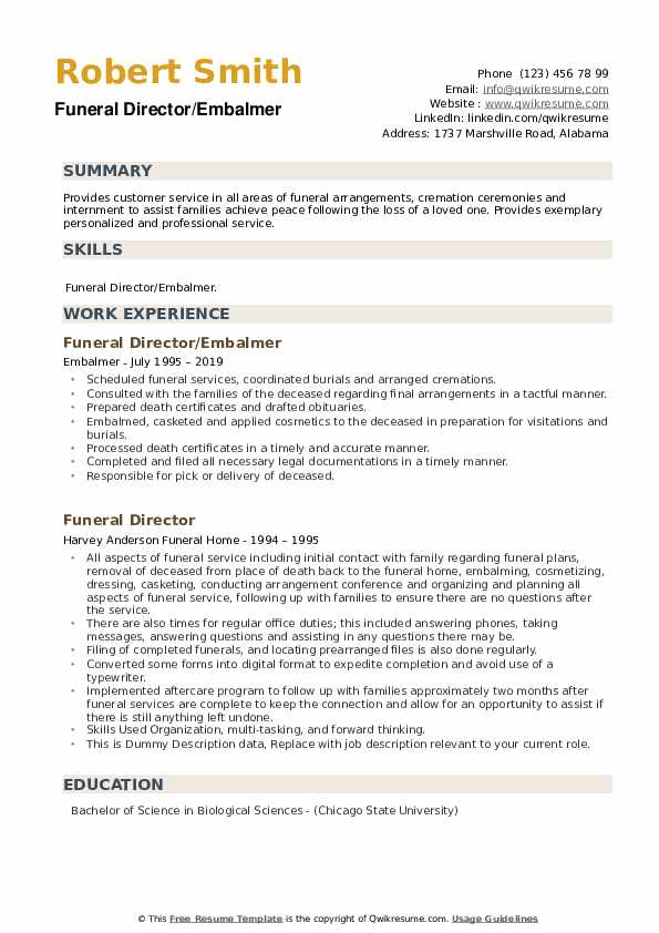 Funeral Director Resume example