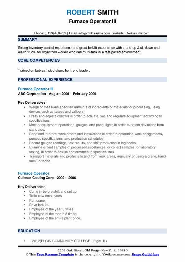 Furnace Operator III Resume Format