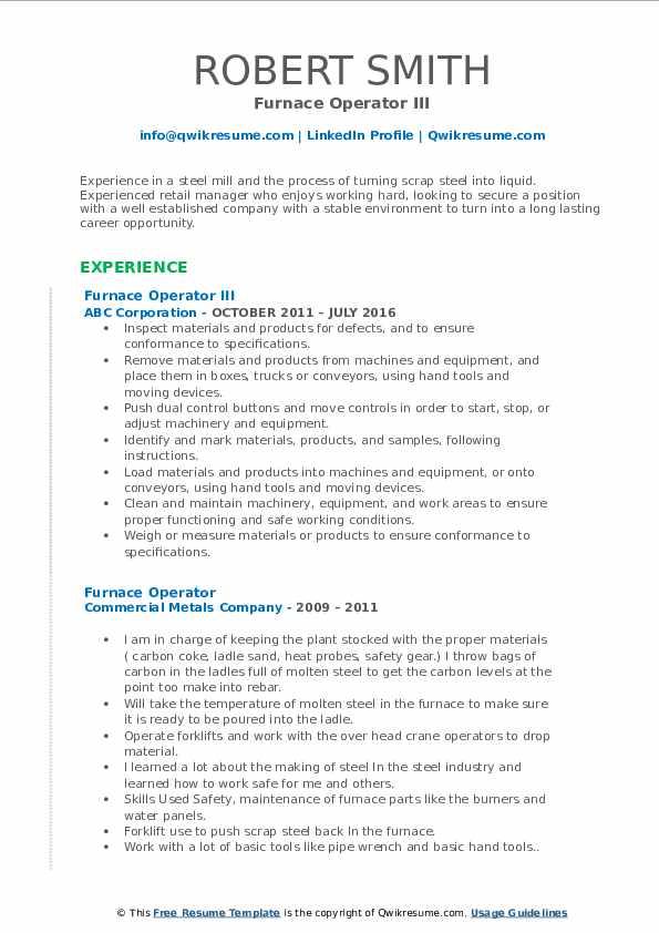 Furnace Operator III Resume Sample
