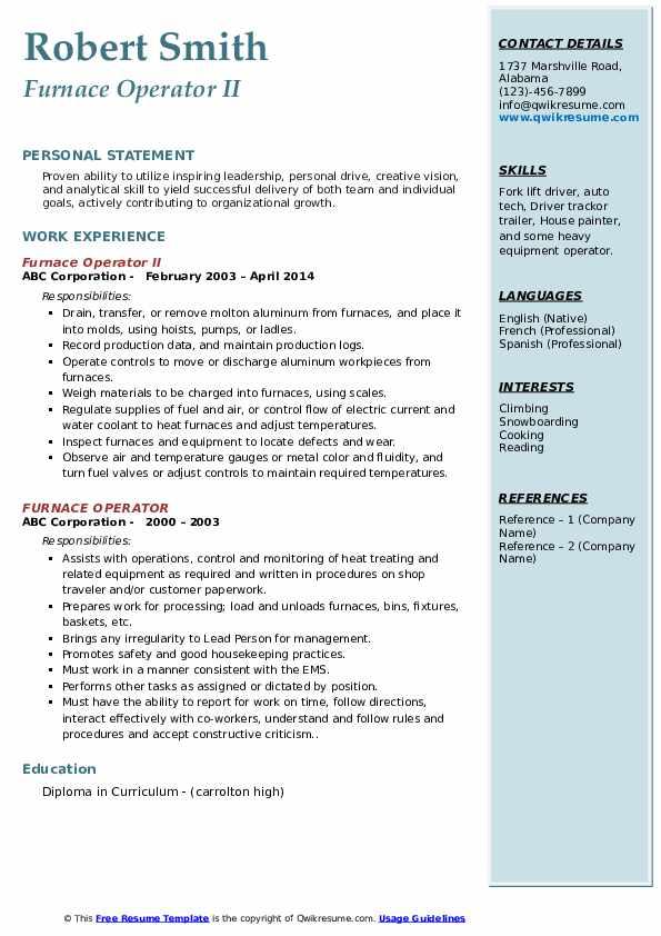 Furnace Operator II Resume Format