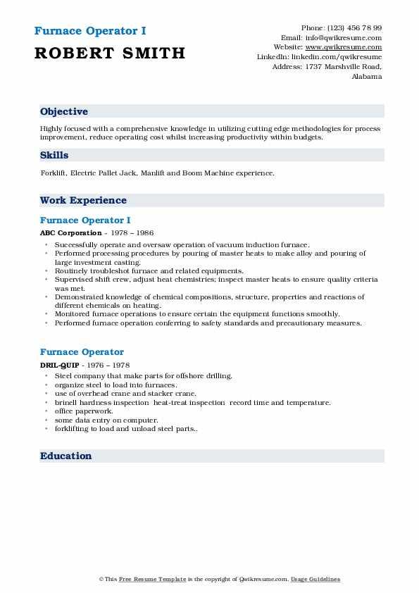 Furnace Operator I Resume Model