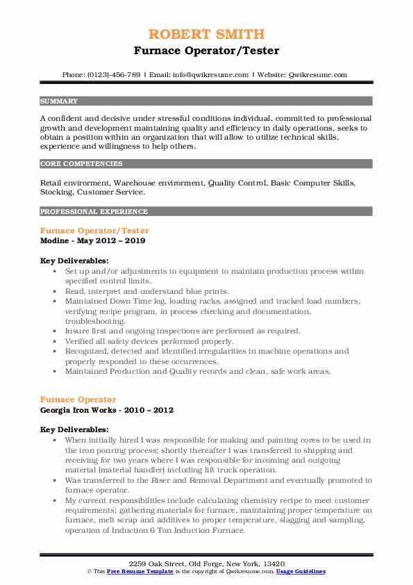 Furnace Operator/Tester Resume Example