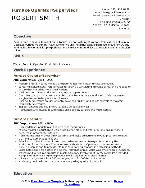 Furnace Operator/Supervisor Resume Template