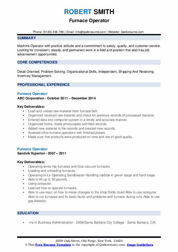 Furnace Operator Resume example