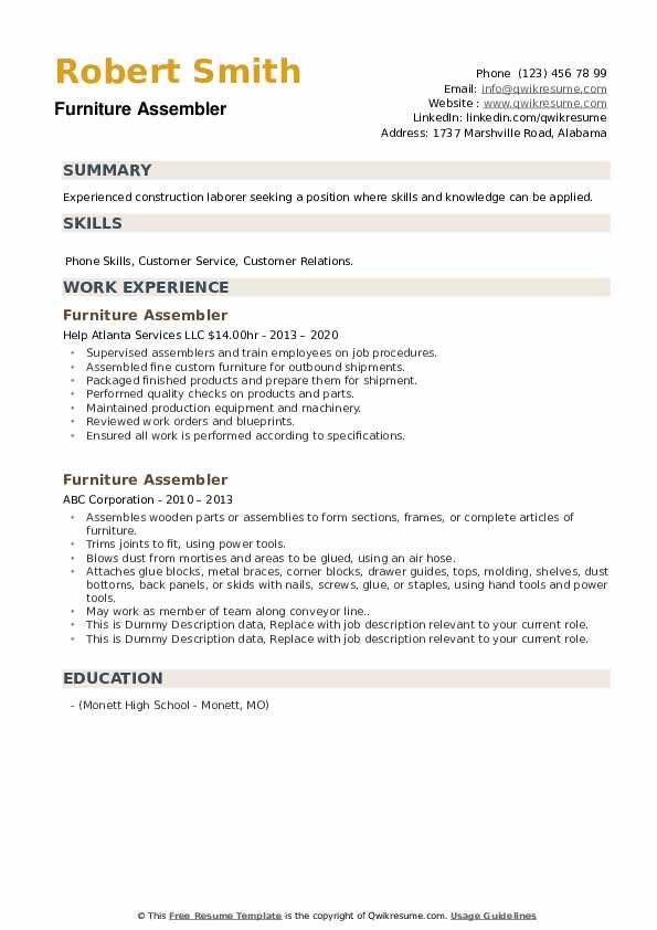 Furniture Assembler Resume example