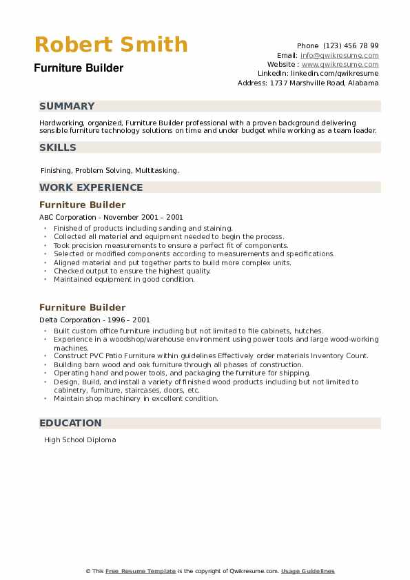 Furniture Builder Resume example