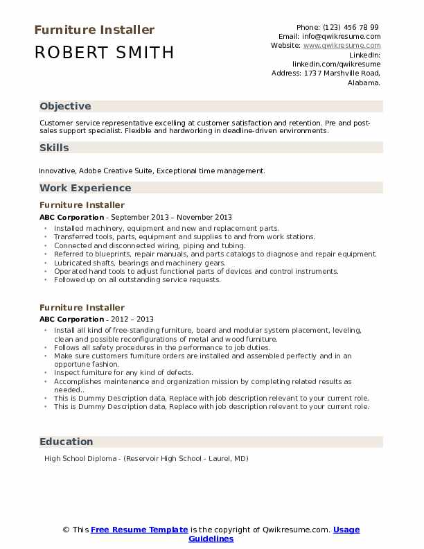 Furniture Installer Resume example