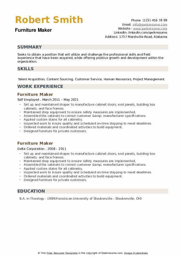 Furniture Maker Resume example