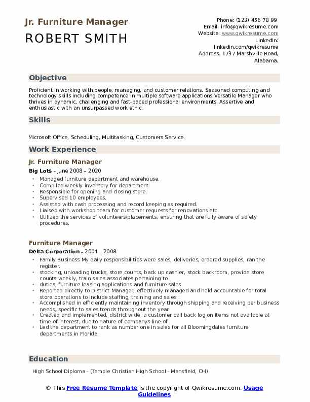 Furniture Manager Resume example