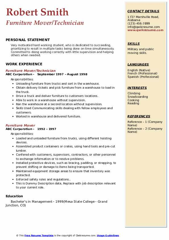 furniture mover resume samples