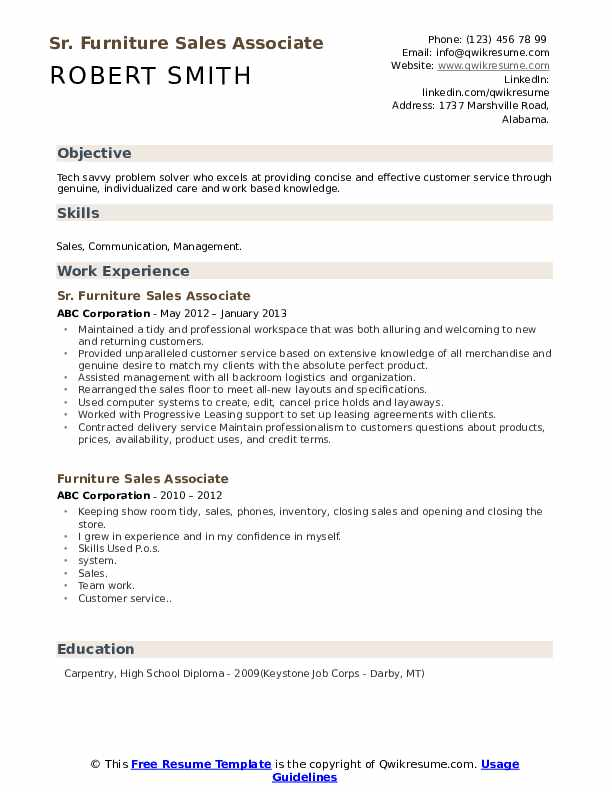 Furniture Sales Associate Resume Samples Qwikresume