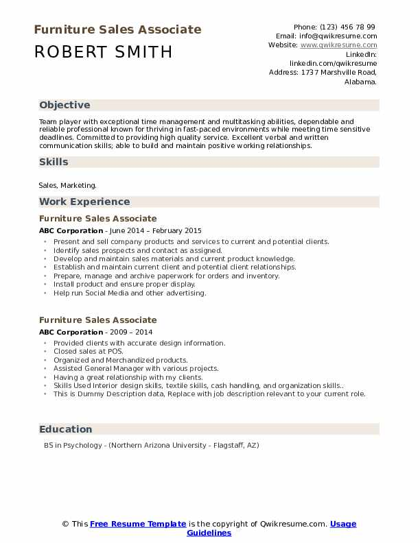 Furniture Sales Associate Resume example