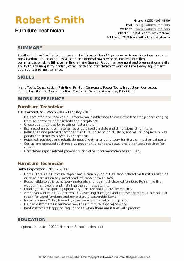Furniture Technician Resume example