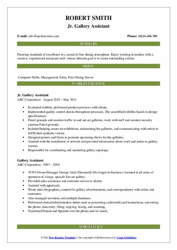 Gallery Assistant Cover Letter from assets.qwikresume.com